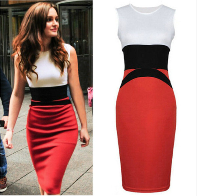 Womens Sexy Red White Elegant Pencil Dress Ladies Smart Bodycon Midi Dress  Plus Size Slim Sleeveless Moda Women Dress WD181 62c7d7d340
