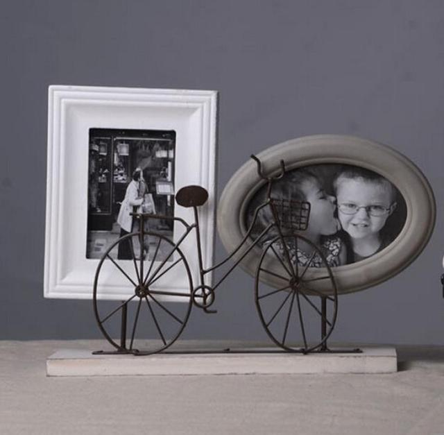 retro stylish wood bike bicycle home decor photo frame picture