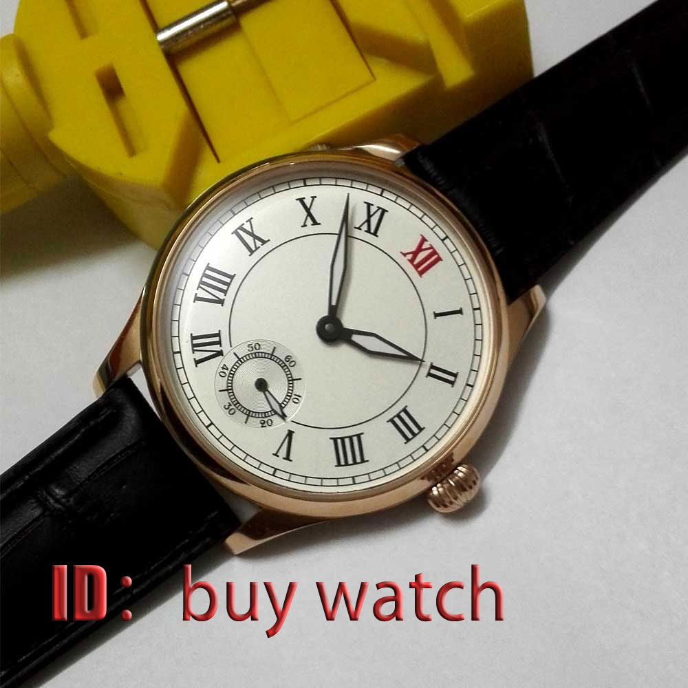 44mm parnis roman number white dial golden plated 6498 hand winding mens watch 173