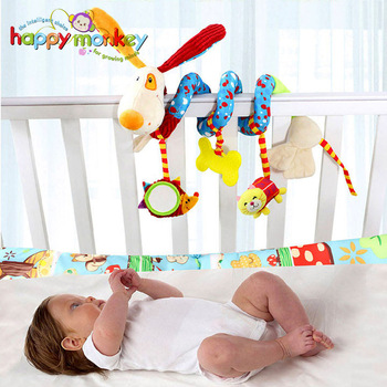 Baby Plush Rattle Crib Spiral Hanging Mobile Infant Stroller Bed Animal Toys Gift for Newborn Children 0-12 Months Happy Monkey