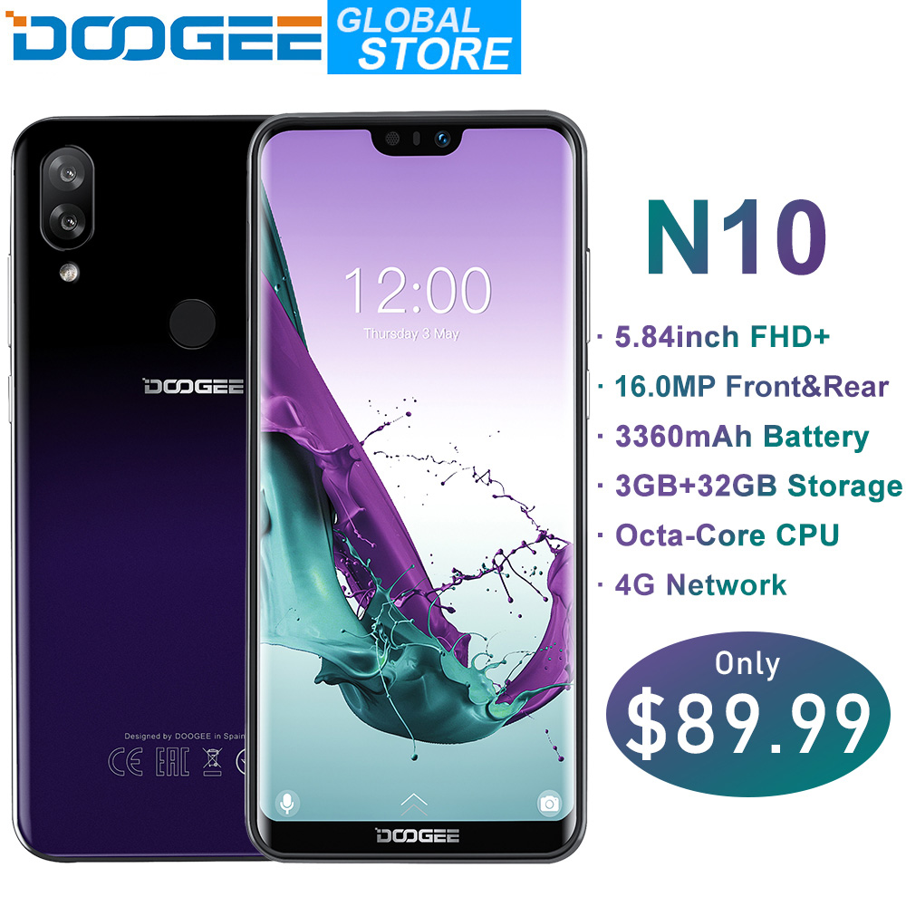 Neue DOOGEE N10 handy 16.0MP Vorne Kamera 3360 mAh Android 8.1 4 GLTE Octa-Core 3 GB RAM 32 GB ROM 5,84 zoll FHD + 19:9 Display