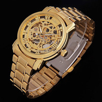 2016 Hot Winner Luxury Brand Gold Men Automatic Skeleton Mechanical Military Watch Men Full Steel Stainless