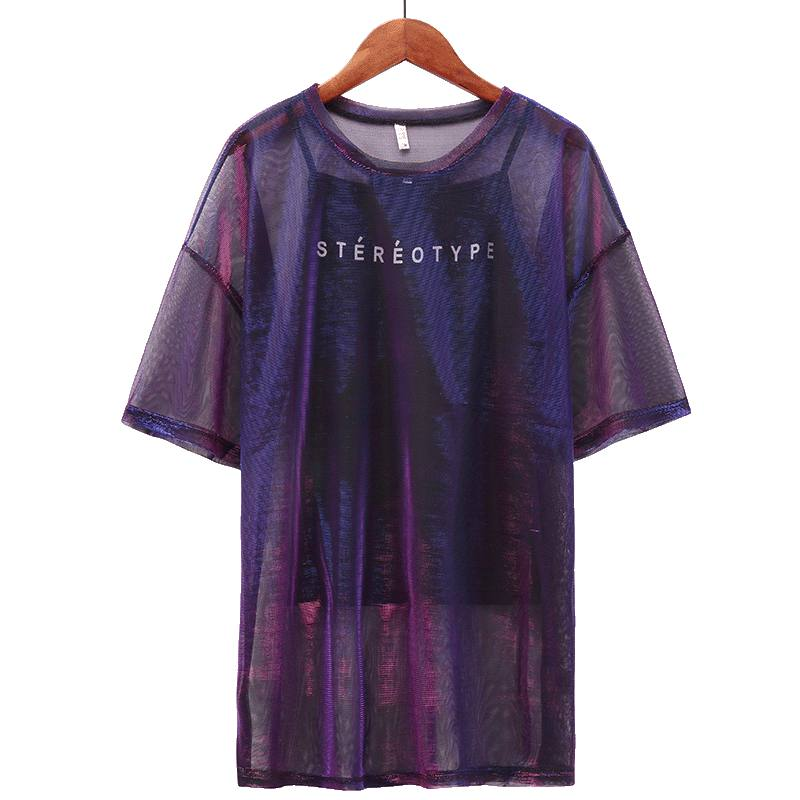 Transparent Colorful Short Sleeve Sets for women