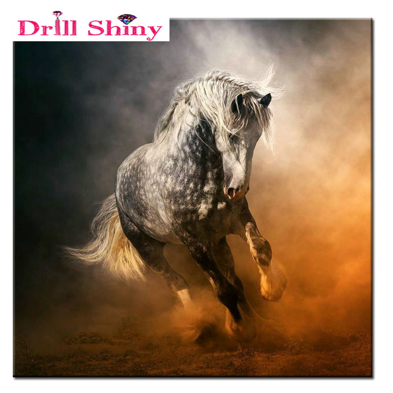 5D DIY Diamond Painting Embroidered Mosaic Diamond Diamond Embroidered Swan Horse Pictures Hobbies & Crafts Home Furnishing Gift