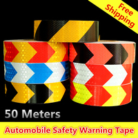 50mx5cm Reflective Strips Glue Stickers For Car Styling Motorcycle Automobiles Decoration Arrow Safety Warning Adhesive Tape