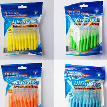 32 pces 0.4-1.0mm dental fino macio escova interdental escova cuidados orais dente picareta push-pull escova interdental higiene oral