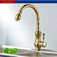 Golden Kitchen Faucet Antique Hot and Cold Single Handle Sink Faucet/Mixer/Tap for Sale Wholesale GZ 8110k