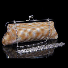 Hot Sale Free Shipping New 2016 Fashion Diamond Evening Bag Handmade High-grade Diamond Bling Banquet Bag with Shoulder Chain