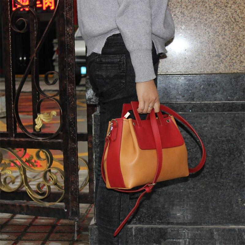 W styl 2017 moda torba na drobiazgi na ramię torba na ramię torebka czerwień blok kolorów w Torby z uchwytem od Bagaże i torby na  Grupa 1