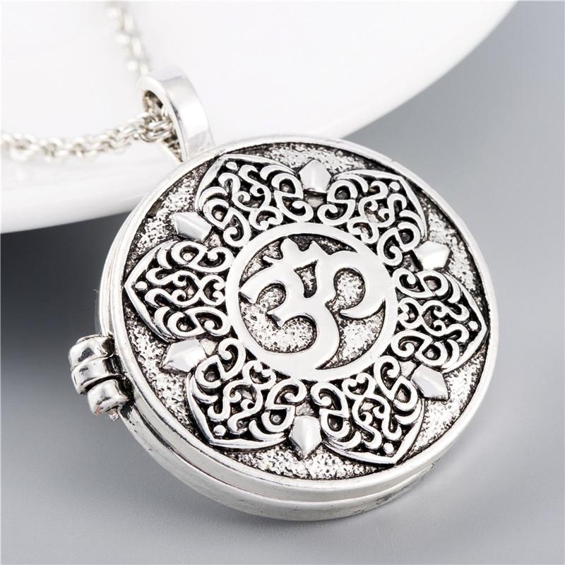 EZEI Open Filigree Lotus Flower Om Ohm Aum Symbol Photo Box Pendant Necklace