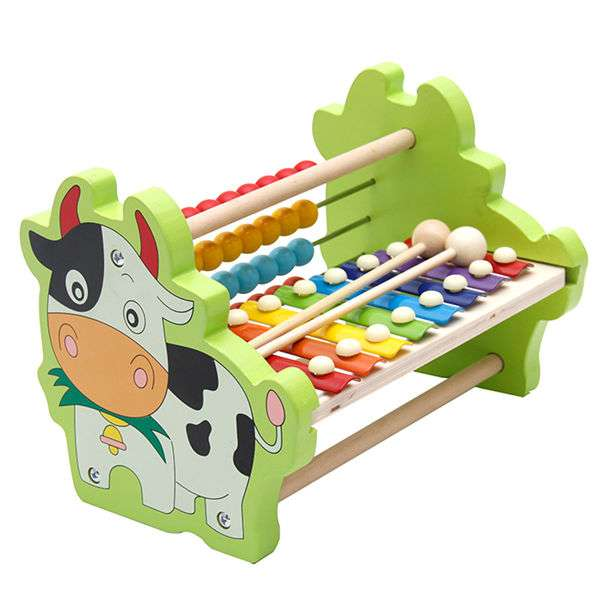 Children Fifteen Sound Knock Piano Toy Wooden Puzzle 1-3 Years Old Baby 8 Tone Aluminum Knock Musical Toy Educational