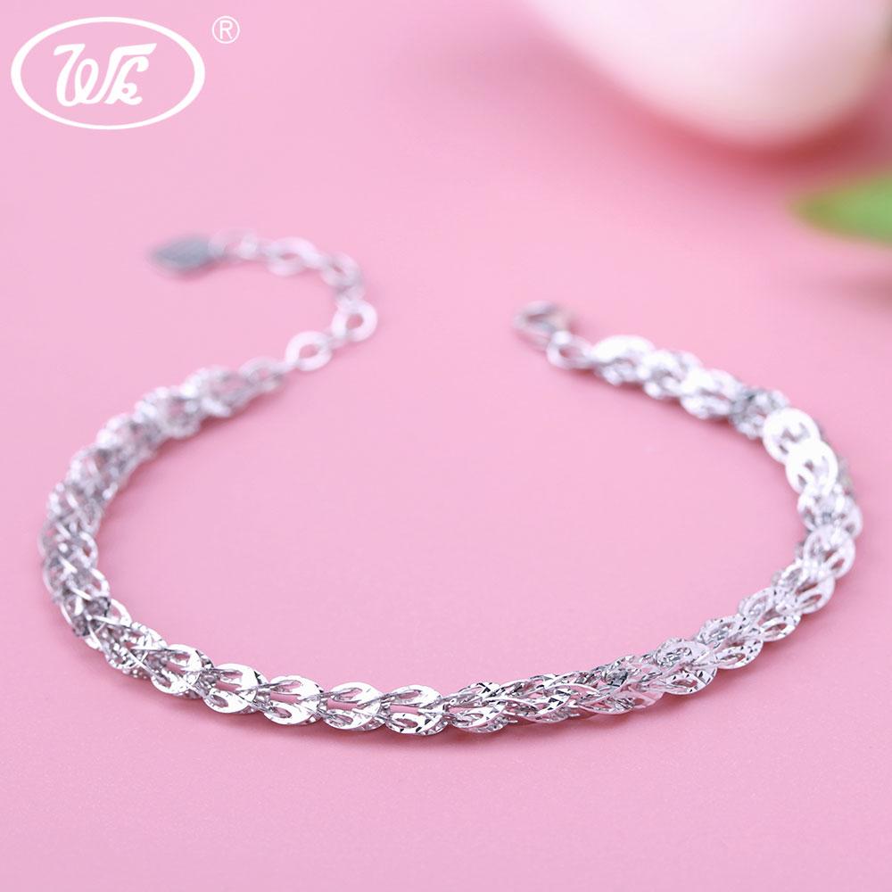 WK NEW Design 925 Sterling Silver Bracelet Women 4MM Hollow Phoenix Tail Shape Link Chain Bracelets Jewelry Pulseras SW BA023