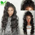 7a sin procesar del pelo humano del frente del cordón pelucas negro mujeres glueless barato llena del cordón pelucas de pelo humano con el pelo del bebé pelucas de cabello natural
