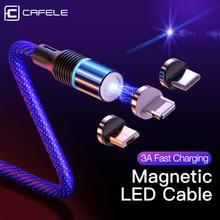 Cafele Cable magnético Micro USB de carga rápida para móvil, Cable de datos de carga rápida 3A para Huawei, iPhone, Xiaomi