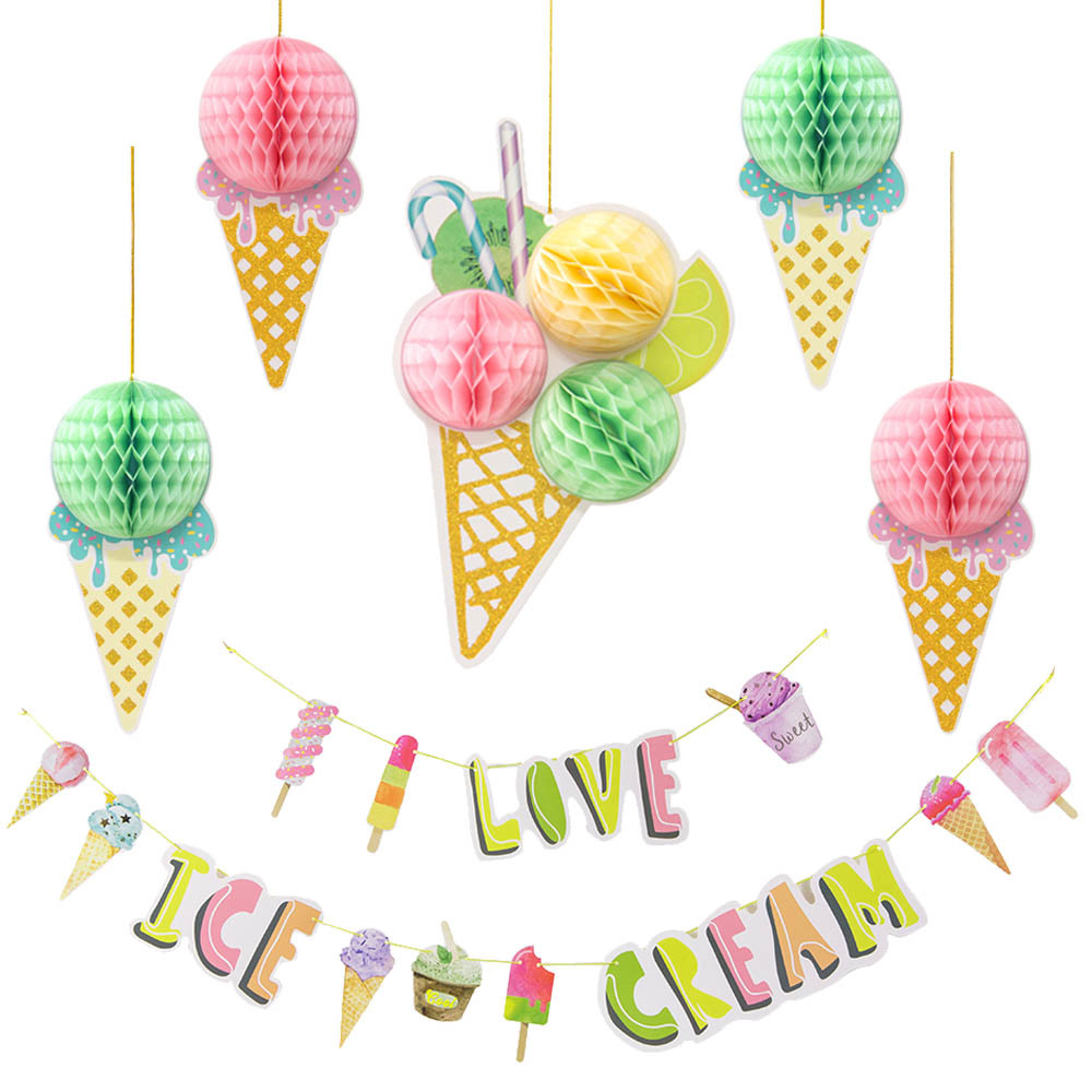 Ice Cream 3D Honeycomb Balls Colorful Popsicle Banner Summer Party Ice Cream Bar Ice Pop Garland Kids Birthday Party Decorations