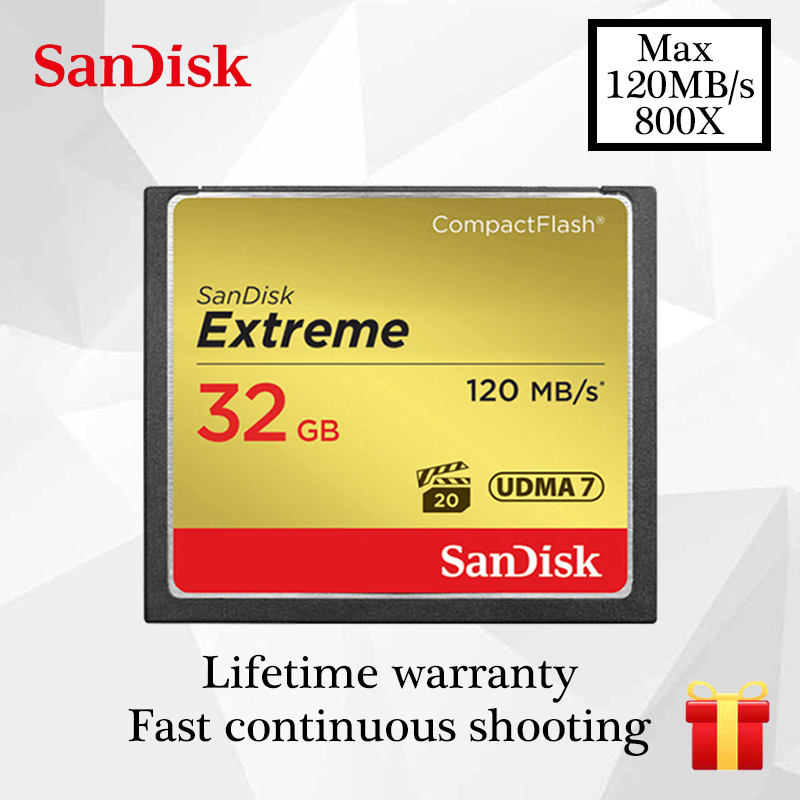 SanDisk Extreme Memory card 16GB 32GB 64GB 128GB compact flash card Class10 120M/s CF card for 4K and Full HD video Camera card