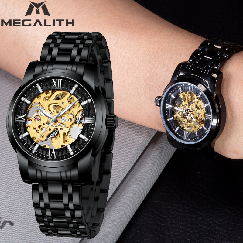 MEGALITH Fashion Mechanical Watches Men Luminous Clock Men Tourbillon Waterproof Black Steel Watch Top Brand Relogio MasculinoMEGALITH Fashion Mechanical Watches Men Luminous Clock Men Tourbillon Waterproof Black Steel Watch Top Brand Relogio Masculino