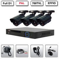 Home CCTV Security System 4 Camera Sony CCD Bullet KIT 700TVL EFFIO DVR System