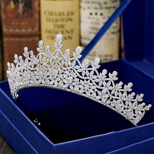 Full Cubic Zircon Tiara Flower Zirconia Crown Princess CZ Diadema Bridal  Coroa Wedding Hair Accessories Bijoux Cheveux WIGO1344 908575eb1a9f
