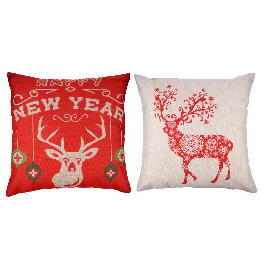 christmas decoration moose pattern linen pillow case cushion cover pillow cover linen square throw chair car seat home decor - Christmas Moose Home Decor