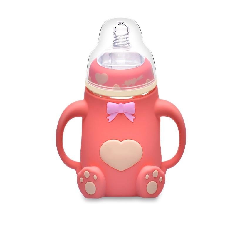 2019 New Baby Feeding Bottle 240ML Bear Design Arc Type Water Feeder with Silicone Nipple