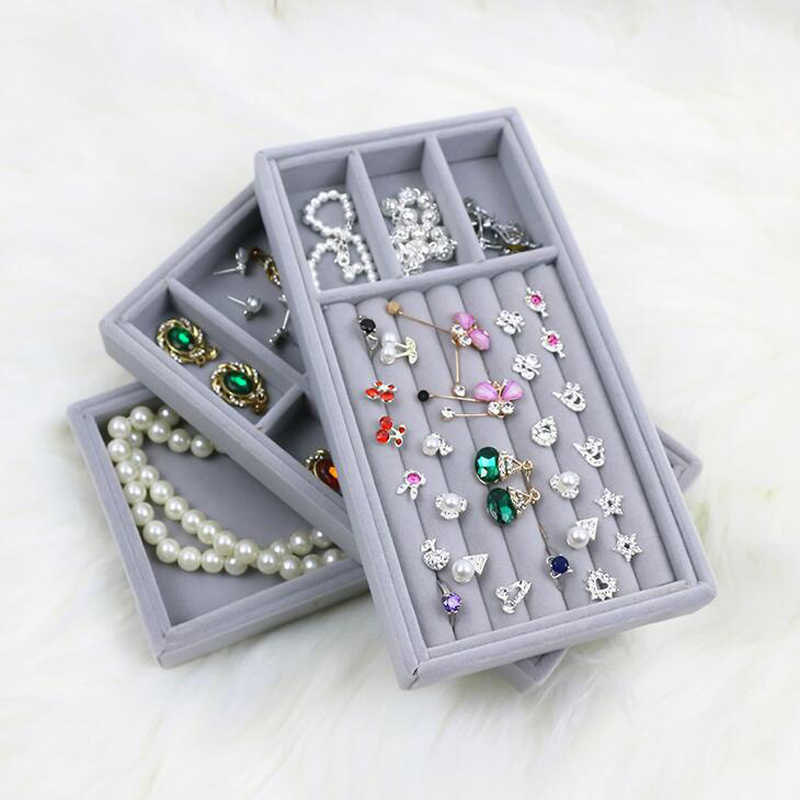 High Level Velvet Jewelry Display Tray Bracelet Holder Necklace Ring Earring Box Jade Pendant Stand Jewelry Storage Organizer