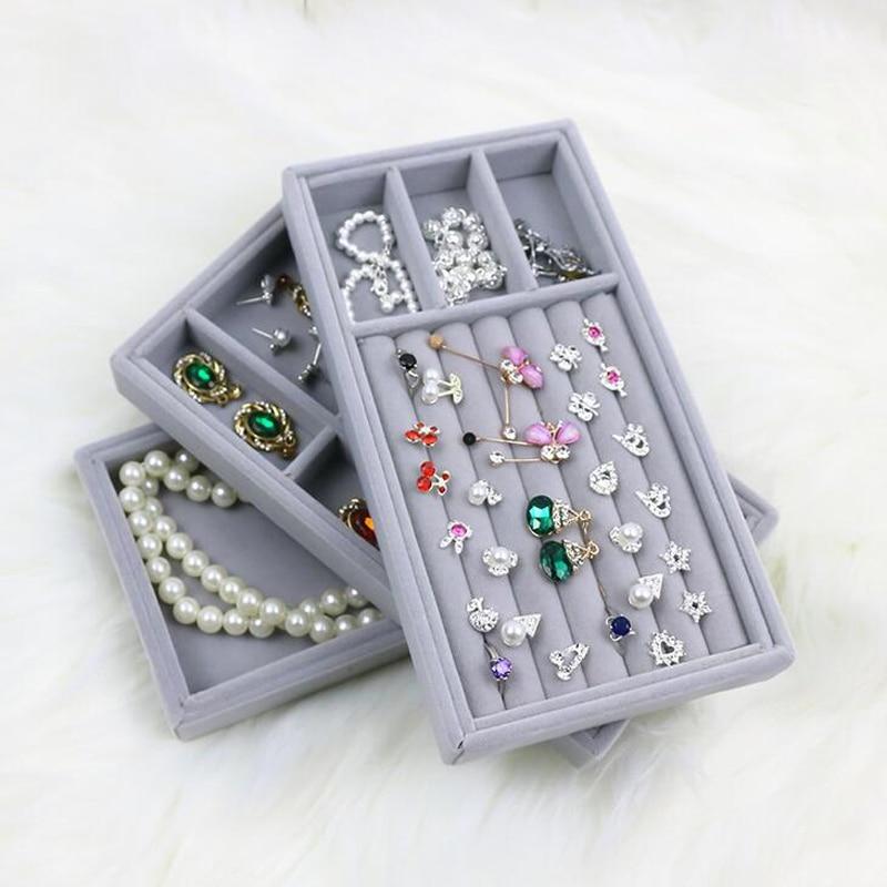 High Level Velvet Jewelry Display Tray Bracelet Holder Necklace Ring Earring Box Jade Pendant Stand Jewelry Storage Organizer