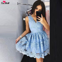 TaoHill Lace Cocktail Dress A line V neck Mini Length Cocktail Dress Short Blue