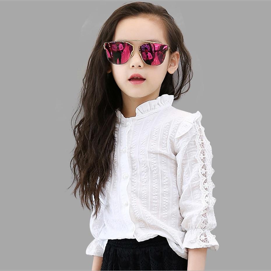Girls White Blouse Spring Summer Teenager Lace Girls Tops School Uniforms Shirt Long-Sleeve Children Clothing 6 8 10 12