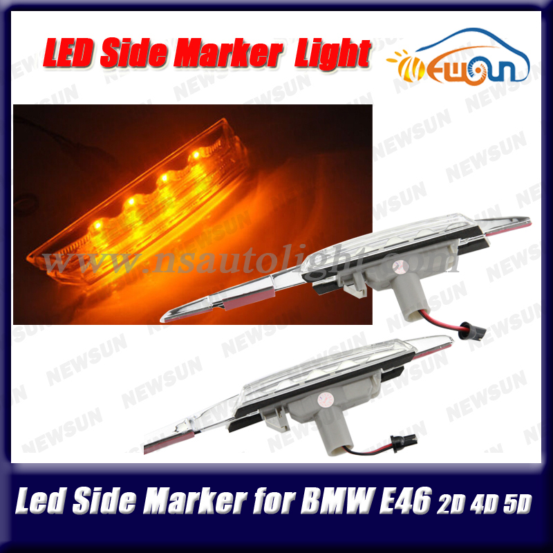 Free Shipping LED Clear Side Marker Lights Turn Signals For BMW E46 Car Accessories Exterior Side Lights Yellow  DC 12V free shipping 2x led turn signal side light auto parts led side marker car accessories with m logo for bmw e46 02 05 4d 5d