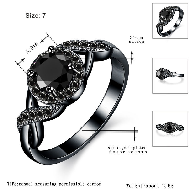 MDEAN Black Gold Color Wedding Rings Fashion Engagement black AAA for Women Zircon Jewelry Bijoux Bague Size 6 7 8 9 10 H465 3