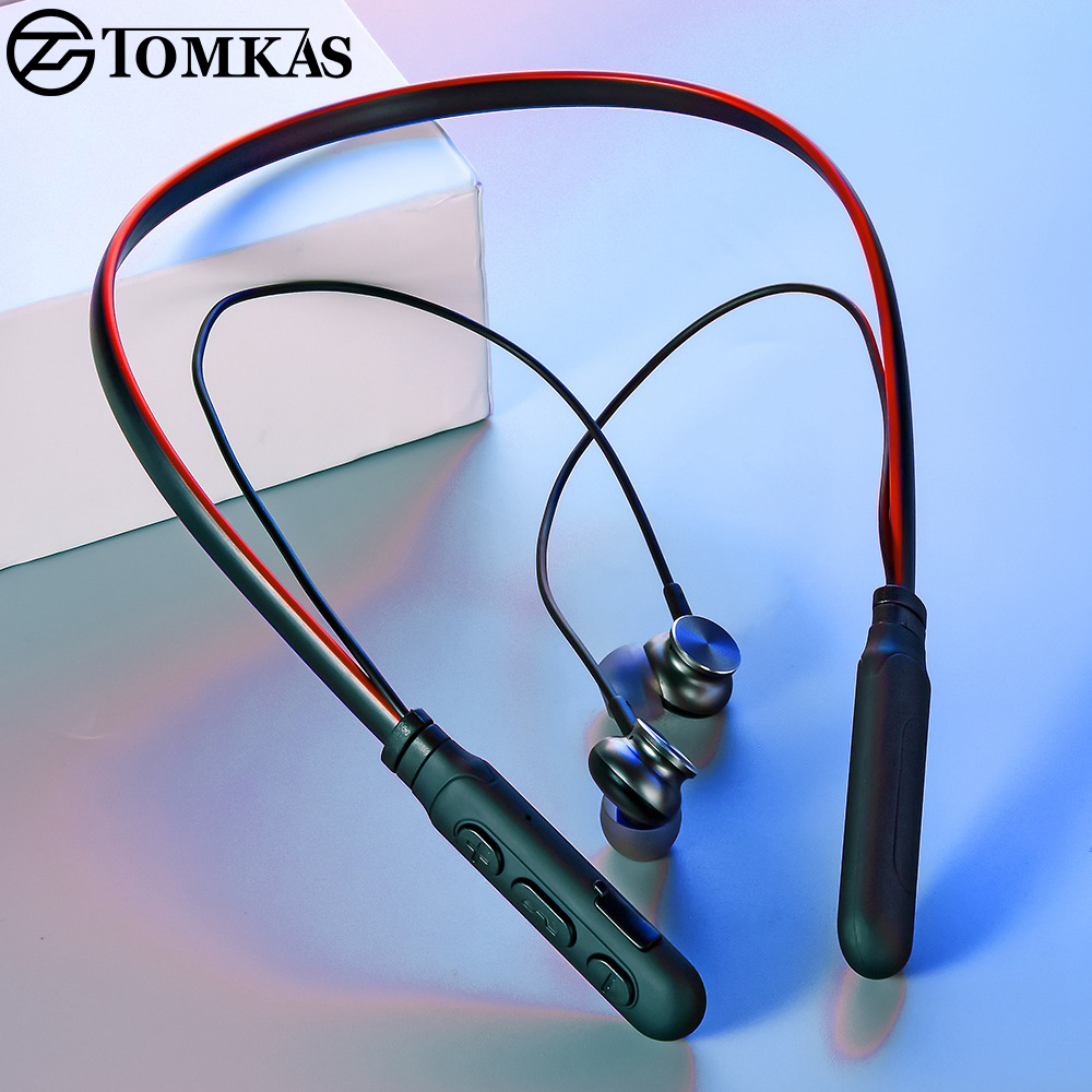TOMKAS TWS 5.0 Bluetooth Wireless Headset Neckband Sport Earphones Earbuds With Microphone Bluetooth Headset Wireless Headphones