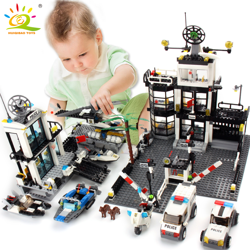 Police Station Prison Van Building blocks Figures Toy City Helicopter Educational Bricks Toys For Children
