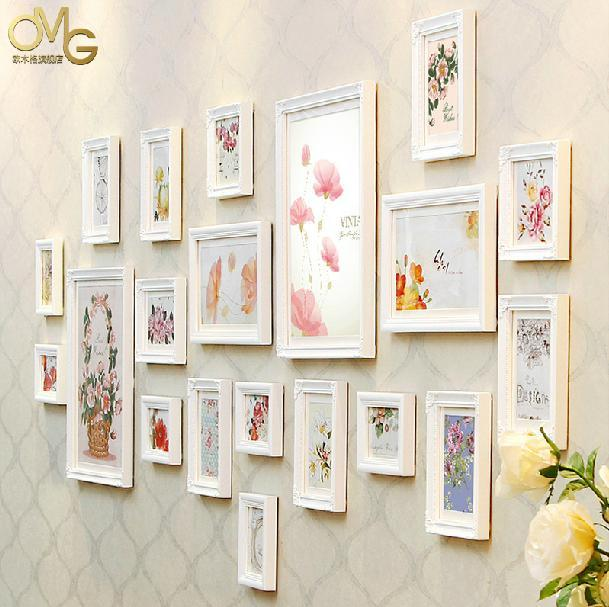 20 boxes new wood wall white picture frames set art wooden family photo picture frame wall - White Picture Frame Set