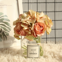 Nordic style Hydrangea Rose Bunch Simulation Flower Home Decoration Wedding Holding Road Lead Wall Fake
