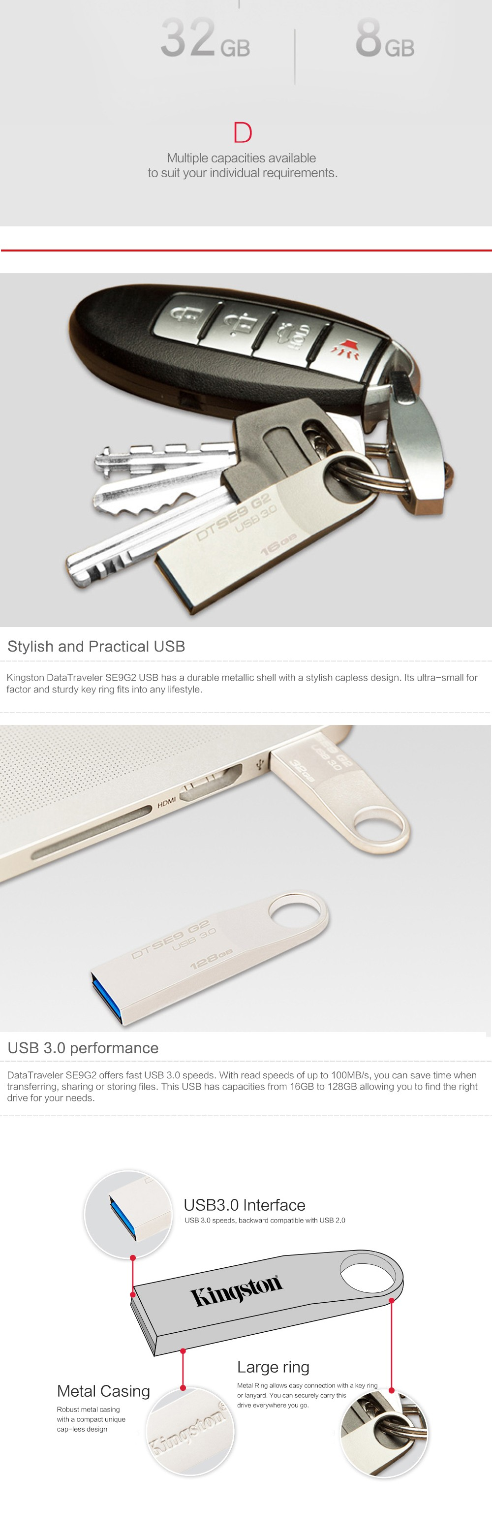 Kingston USB Flash Drive Pendrive Stick DTSE9G2 8GB 16GB 32GB 64GB 128GB 3.0 Pen Drive Mental Ring Memory Flash Memoria 7