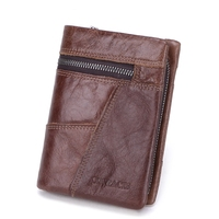 Splicing Style Hot Selling Men Small Wallet Vintage Genuine Leather Male Short Purse Men Zipper Hasp Card Holder Coin Pocket Car
