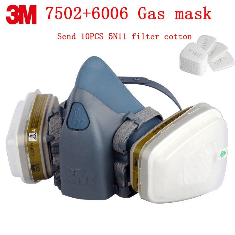 3 M 7502 + 6006 masque à gaz respirateur véritable sécurité 3 M masque de protection contre plusieurs types de gaz toxique masque à gaz chimique