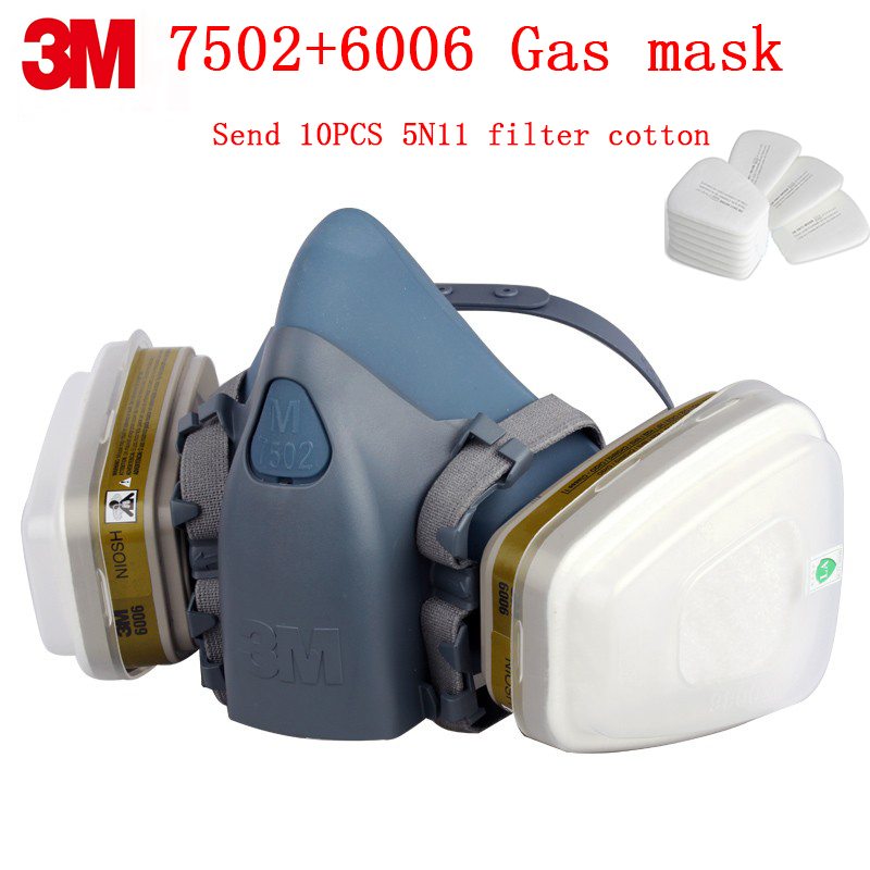 3M 7502+6006 respirator gas mask Genuine security 3M protective mask against Multiple types Toxic gas chemical gas mask 3m 6200 6005 respirator gas mask genuine security 3m protective mask against formaldehyde organic vapor gasmaske