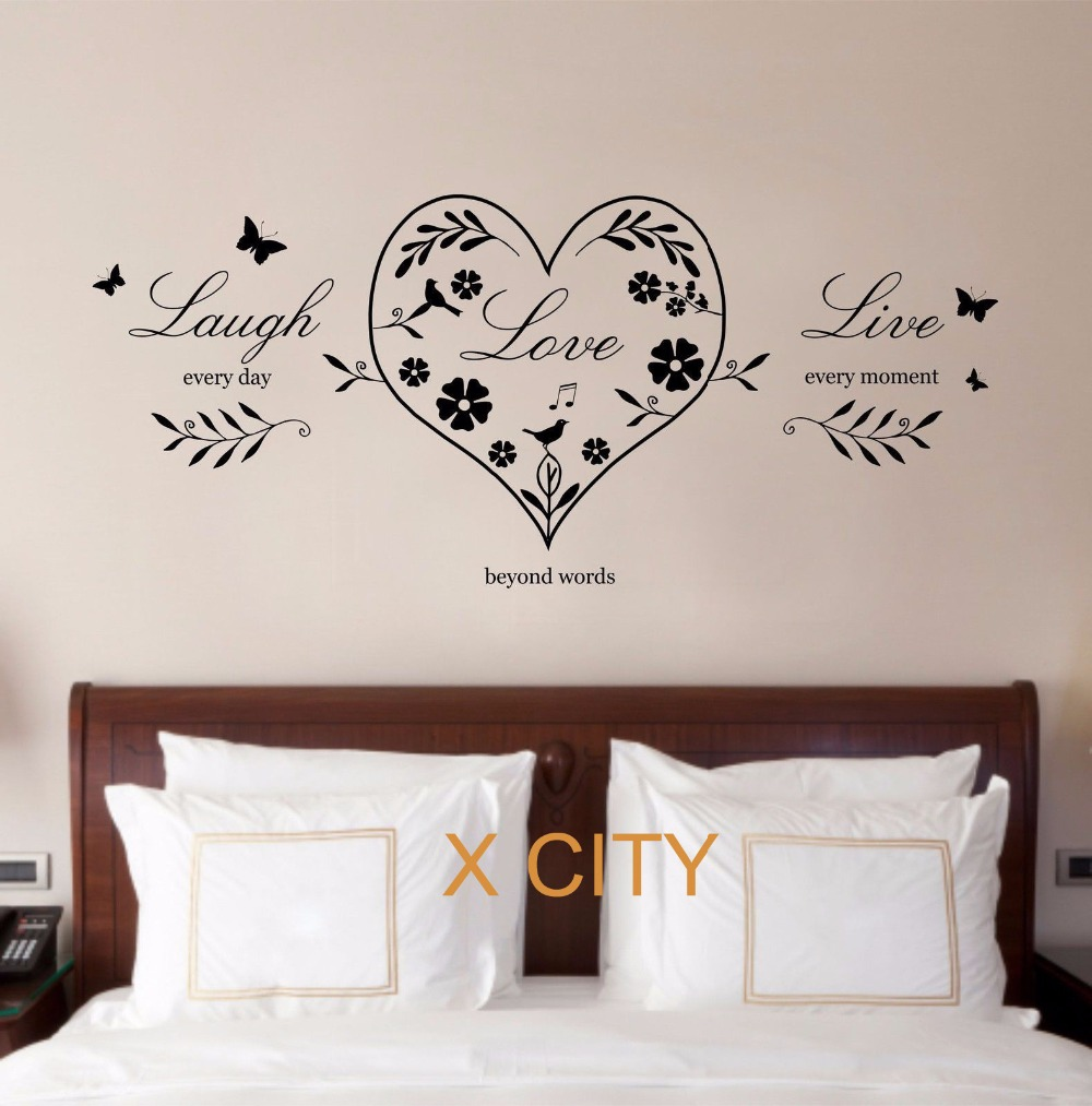 Creative Bedroom Wall Decor Brass Bed Bedroom Design Bedroom Design Black Bedroom Cupboards At Ikea: Live Laugh Love Heart Quote CREATIVE WALL ART STICKER