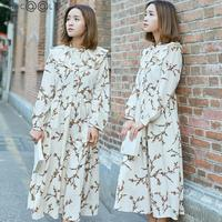 High Qaulity 2018 Autumn New Long Sleeved Floral Dress Fresh Lotus Leaf Edge Chiffon Loose Retro Russian Style Dresses