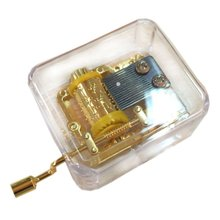 Exquisite Clear Transparent Acrylic Gold Hand Cranked Gurdy 18 Note Music Box Play Castle in the Sky Square