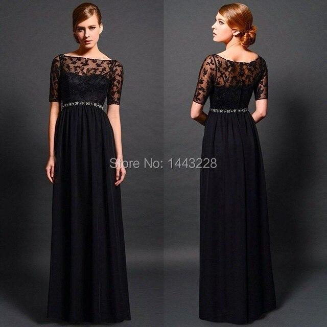Длинные черные платья с гипюром