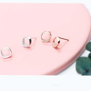 INZATT OL Style Simple Sqare Real 925 Sterling Silver Stud Earrings Chic Bright Crystal Women Fine Jewelry Accessories For Gift 4