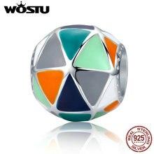 WOSTU, новая коллекция, 925 пробы, серебряные, художественные, геометрические, треугольные, эмалированные бусины, подходят к оригинальному WST, браслеты с подвесками, ювелирные изделия, FIC304
