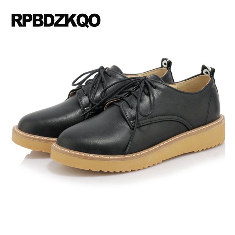 Spring Autumn Black Round Toe Lace Up Thick Sole Elevator Vintage Women Oxfords Shoes British Style Ladies Slip Resistant Flats oxfords male round toe lace up men black and white dress shoes big size flats british style brogue wingtip fashion spring