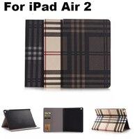 עבור אפל iPad אוויר 2 חריצי כיסוי עם כרטיס מקרה משובץ עסקי תיק עור מגן עור PU כיסוי Tablet אבזרים + מתנות