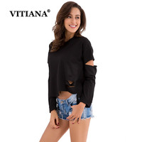 VITIANA Spring Autumn Women Solid Sexy Long Sleeve Casual Pullovers Bandage O Neck Pullover Black Irregular