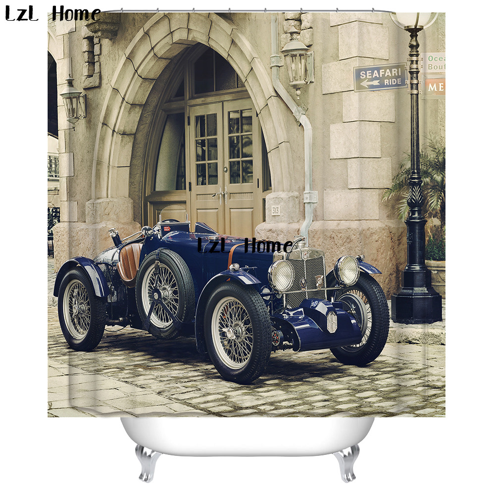 LzL Home Vintage Cars Pumpkin Cart Shower Curtain Customized Eco Friendly Polyester Bathroom Waterproof Curtains In From