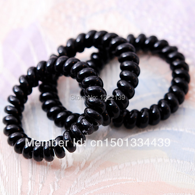BEST SELLING BLACK Telephone Wire Plastic Hair Band Hair Ties Hair Elastic  Ponytail Holder Hair Accessories FREE SHIPPING 19e1a3489c1